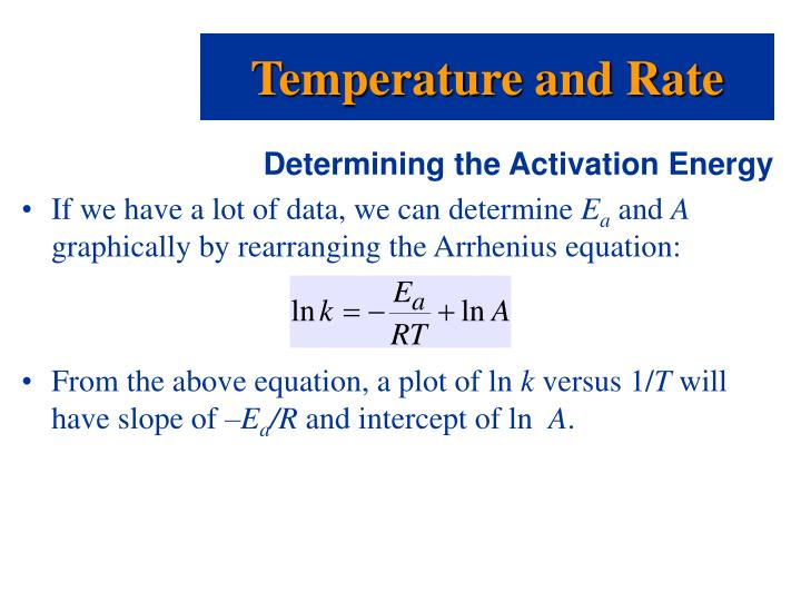determining the activation energy essay The activation energy can then be calculated via finding the different rates of reaction and thus the different values of the rate constant this is all assuming.