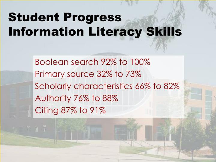 Student Progress Information Literacy Skills