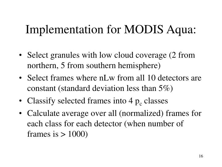 Implementation for MODIS Aqua: