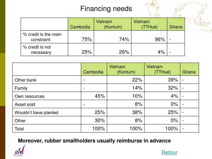 Financing needs