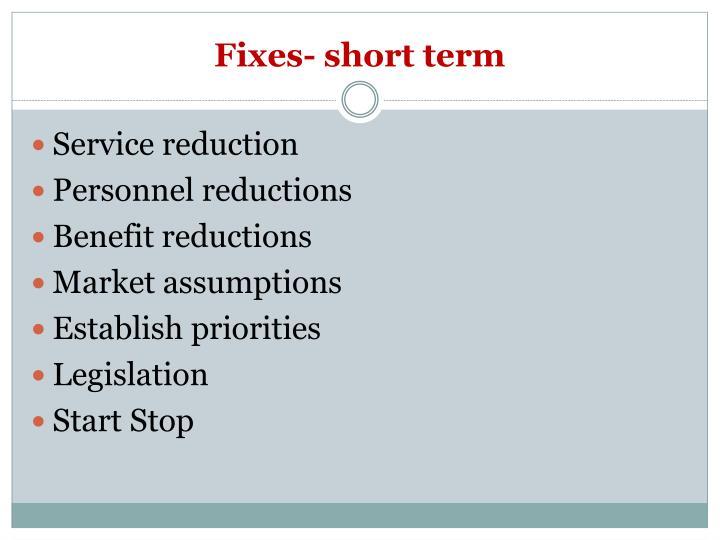 Fixes- short term