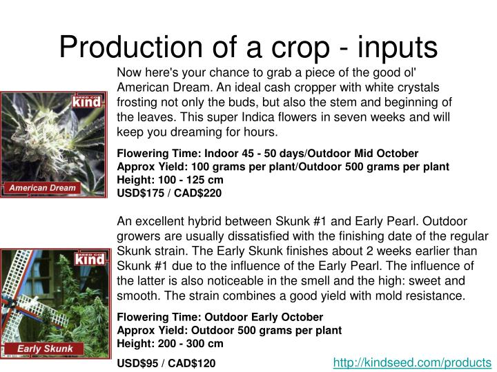Production of a crop inputs