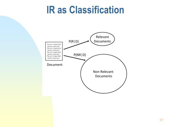 IR as Classification