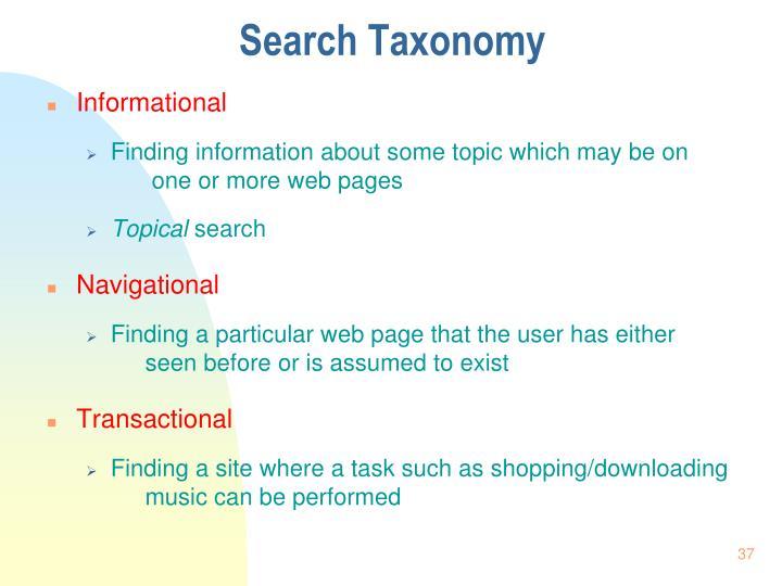 Search Taxonomy