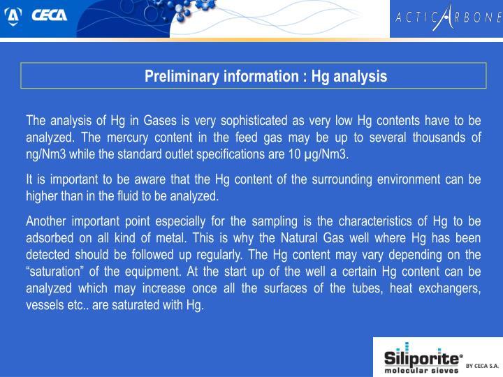 Preliminary information : Hg analysis