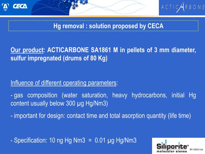 Hg removal : solution proposed by CECA
