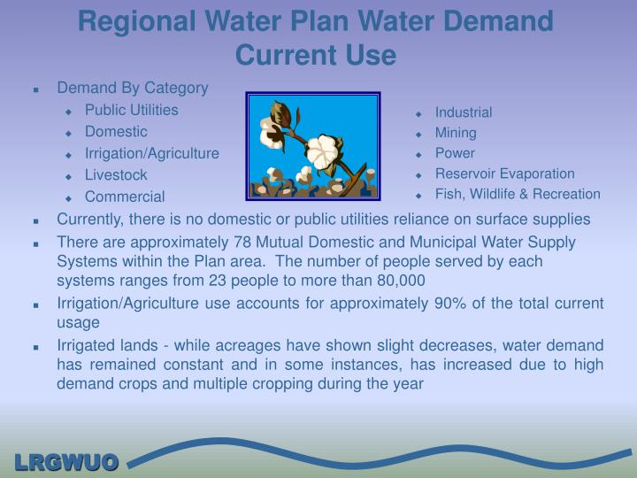 Regional Water Plan Water Demand Current Use