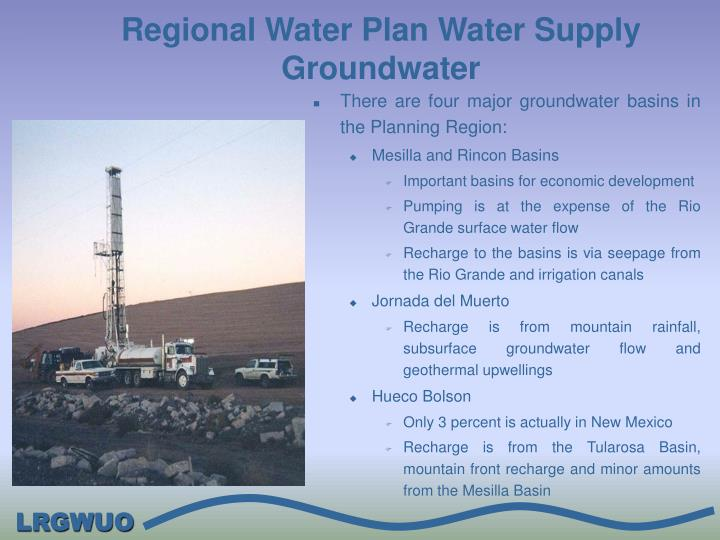 Regional Water Plan Water Supply Groundwater