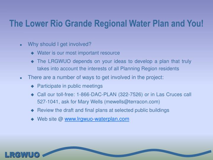 The Lower Rio Grande Regional Water Plan and You!