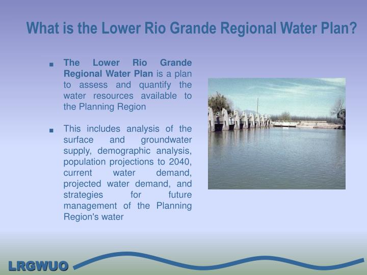 What is the lower rio grande regional water plan