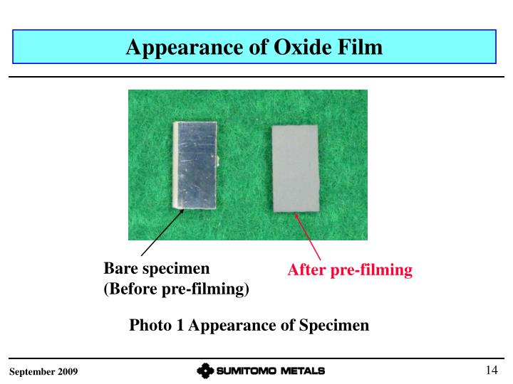 Appearance of Oxide Film