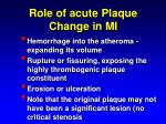 role of acute plaque change in mi