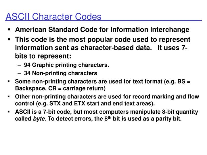 ASCII Character Codes