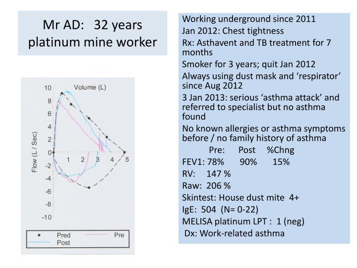 Mr ad 32 years platinum mine worker