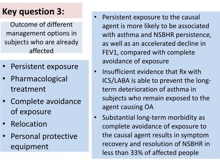 Outcome of different management options in subjects who are already affected