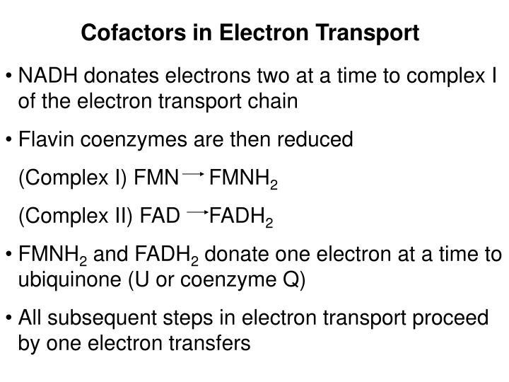 Cofactors in Electron Transport