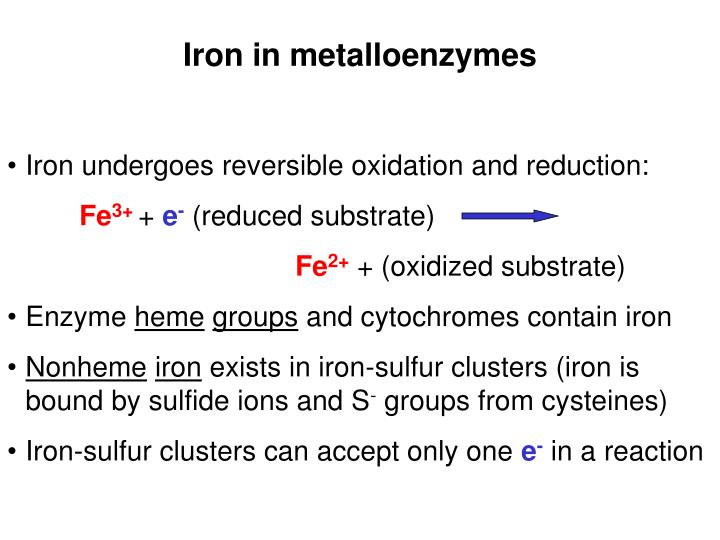 Iron in metalloenzymes