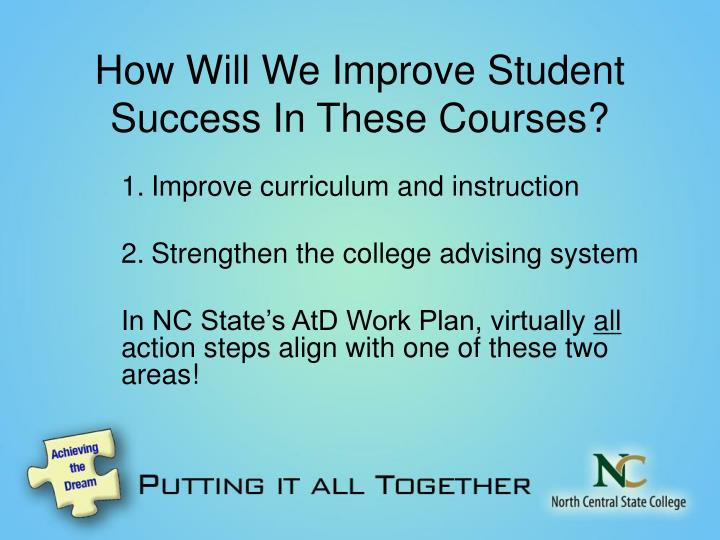 How Will We Improve Student Success In These Courses?