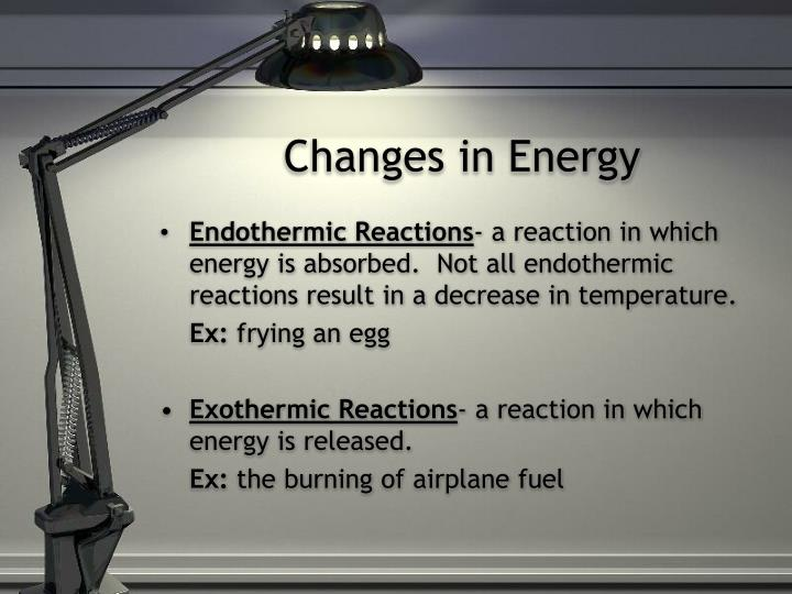 Changes in energy