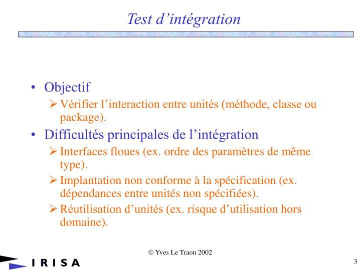 Test d int gration