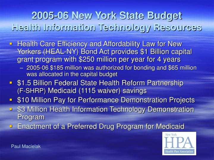 2005 06 new york state budget health information technology resources