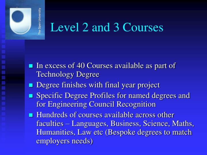 Level 2 and 3 Courses