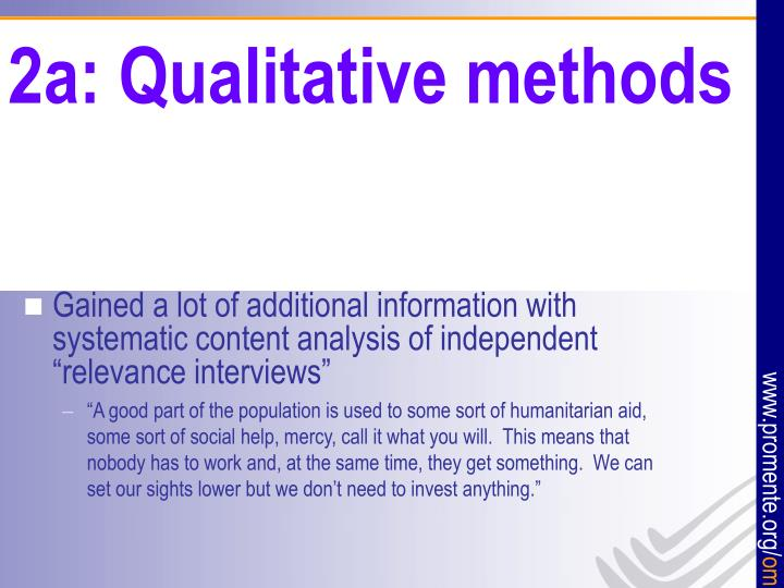 2a: Qualitative methods