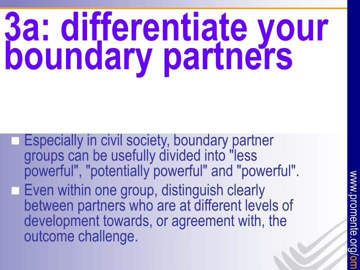 3a: differentiate your boundary partners