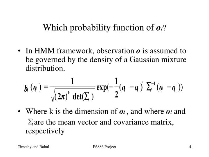 Which probability function of