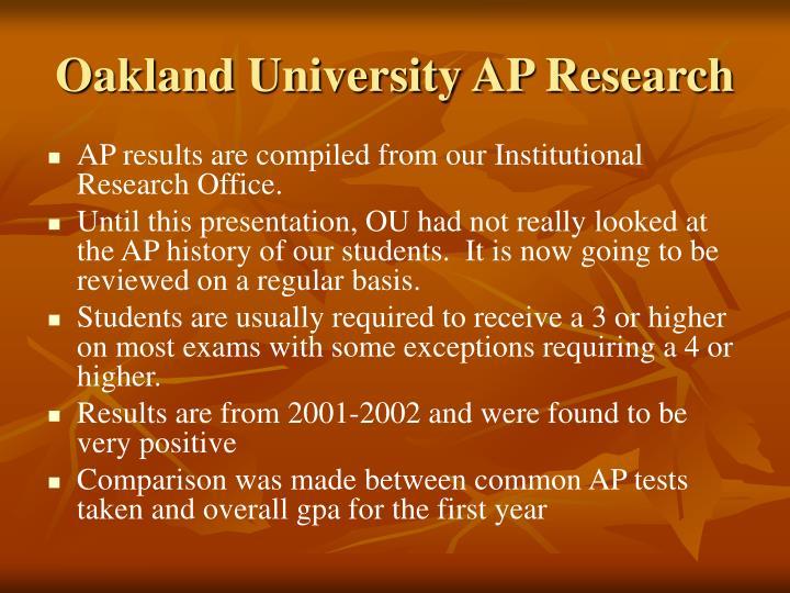 Oakland University AP Research