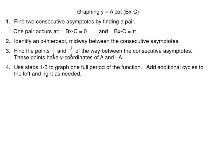 Graphing y = A cot (Bx-C)