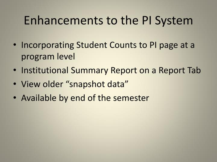 Enhancements to the PI System