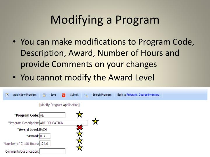 Modifying a Program