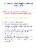 equilibrium and transport modeling code dina