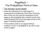 pagerank the probabilistic point of view