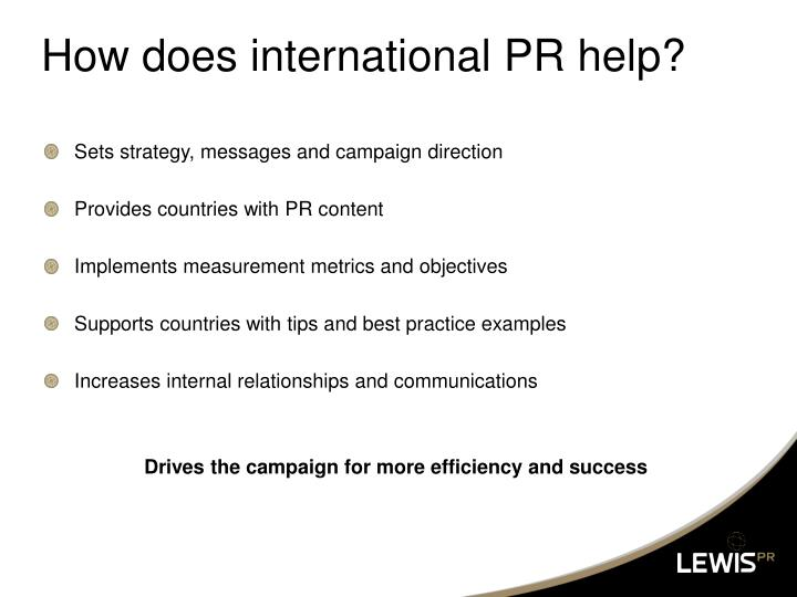 How does international PR help?