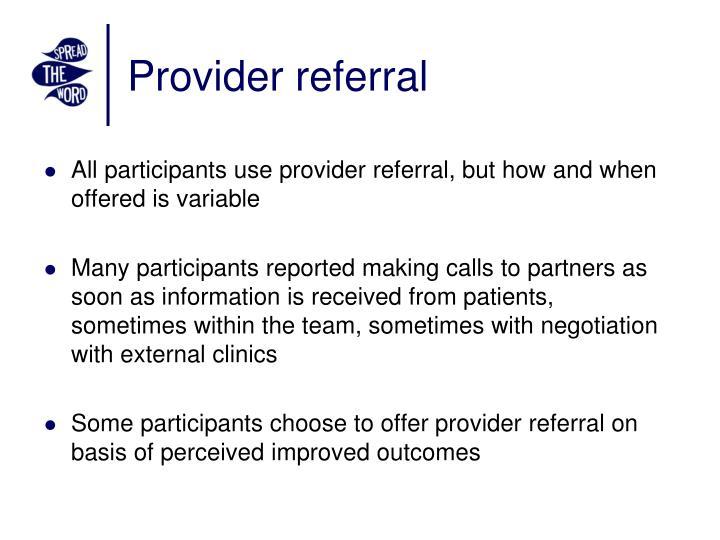Provider referral