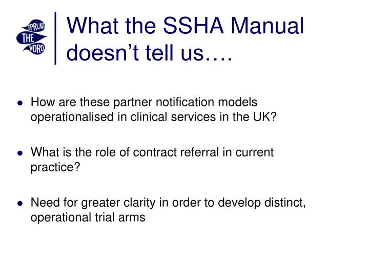 What the SSHA Manual doesn't tell us….