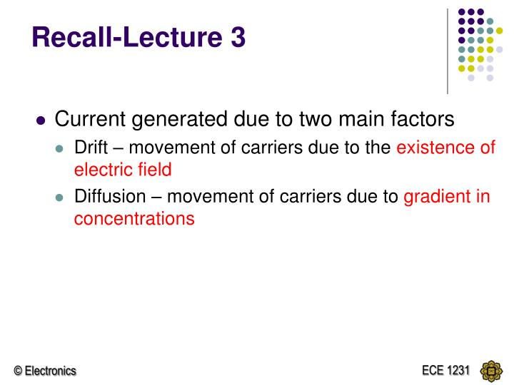 Recall lecture 3