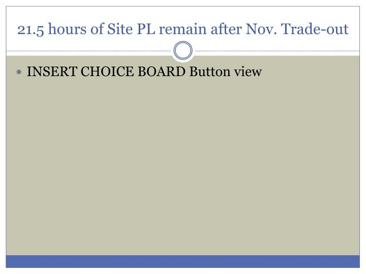 21.5 hours of Site PL remain after Nov. Trade-out