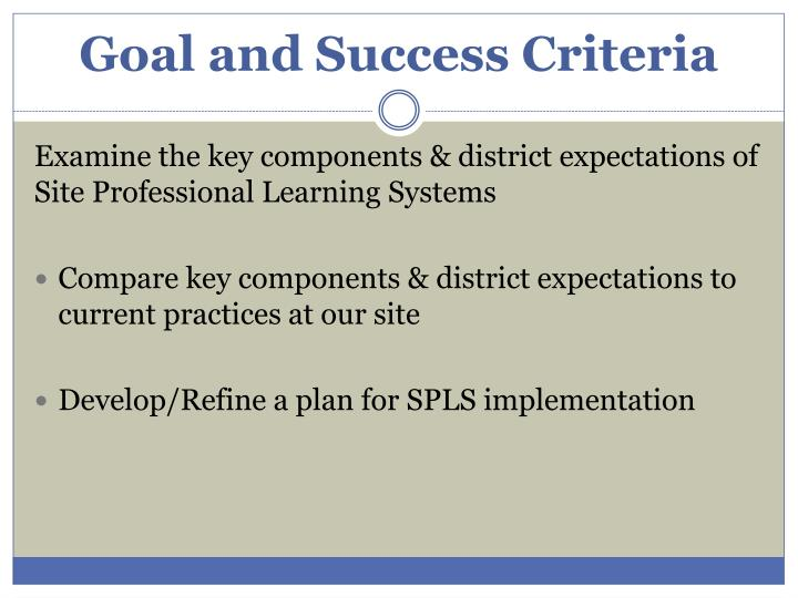 Goal and success criteria
