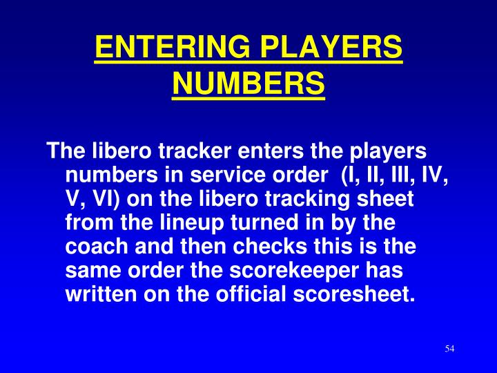 ENTERING PLAYERS NUMBERS