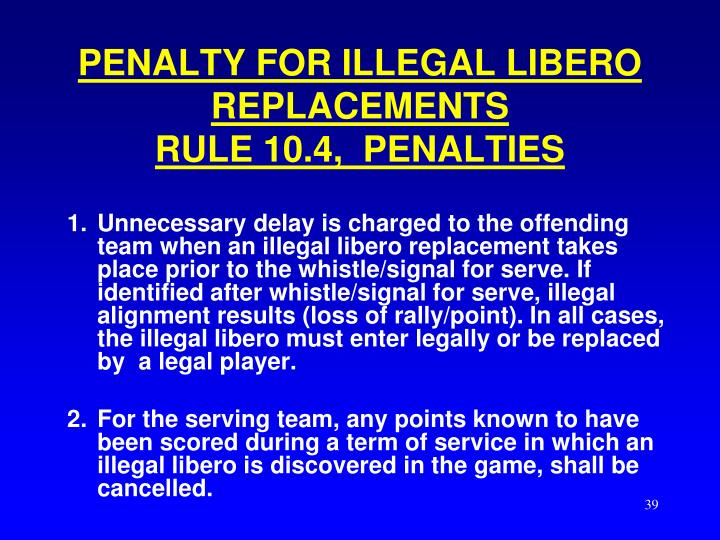 PENALTY FOR ILLEGAL LIBERO REPLACEMENTS