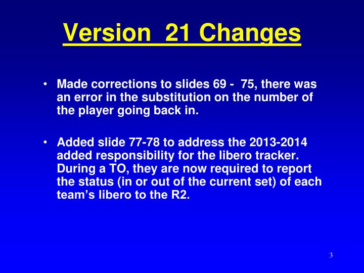 Version 21 changes