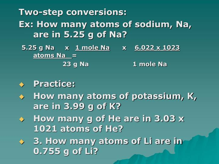 Two-step conversions: