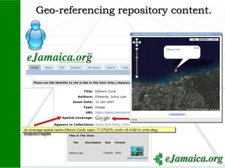 Geo-referencing repository content.