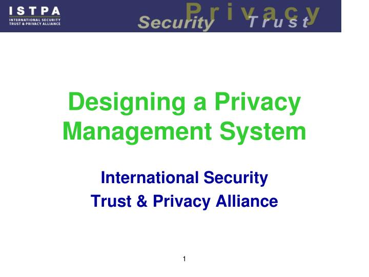 designing a privacy management system n.