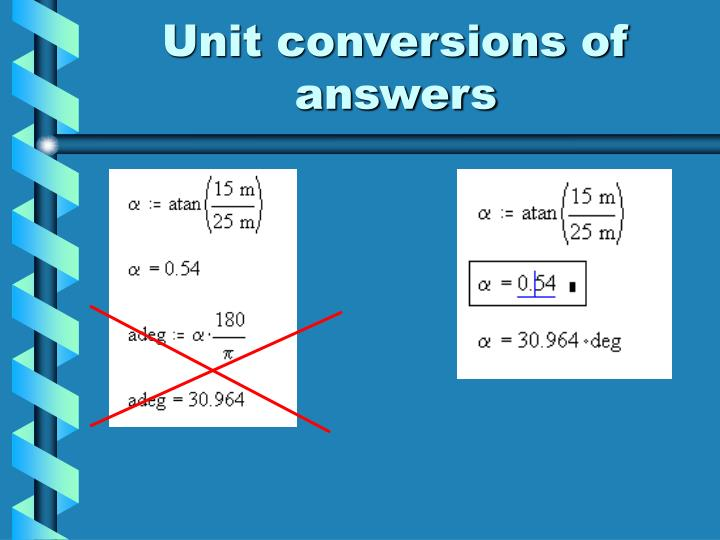 Unit conversions of answers