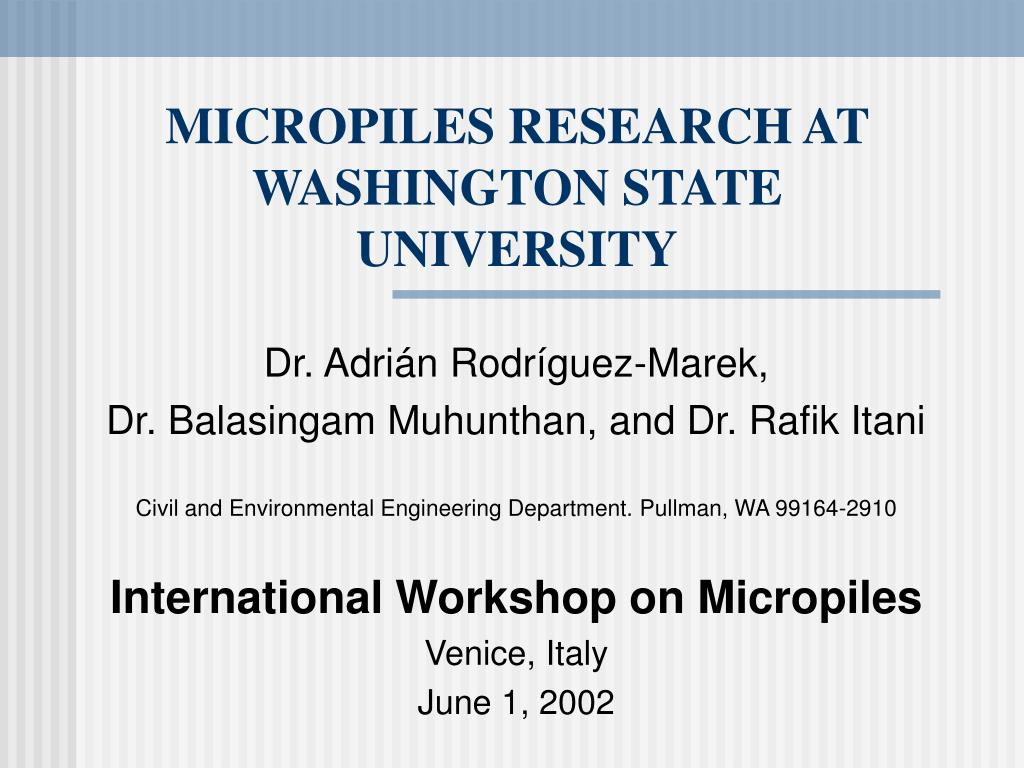 micropiles research at washington state university n