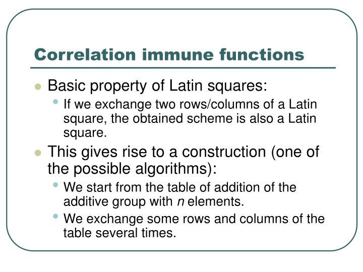 Correlation immune functions